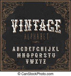 Vintage Western alphabet. Decorative vintage alphabet. With Art frame border. On the blackboard background. Vintage letters. For vintage labels and any type retro designs