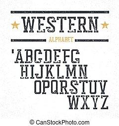 Vintage western alphabet. Stamped serif letters. Grunge style, retro looks.