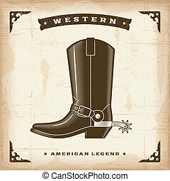 Vintage western cowboy boot in woodcut style. Editable EPS10 vector illustration.