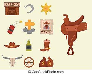 Vintage western cowboys vector signs american symbols vintage old designs cartoon icons illustration.