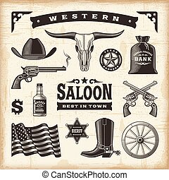 Vintage western set in woodcut style. Editable EPS10 vector illustration with transparency.