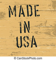 """Vintage western styled sign """"Made in USA"""". Vector, EPS8"""