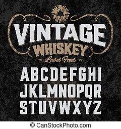 Vintage whiskey label font