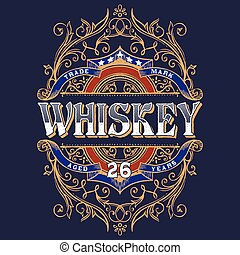 Vintage Whiskey Label T-shirt Design. - Antique Whiskey...