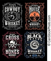 Vintage Whiskey Label T-shirt Graphic Collection