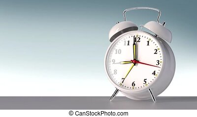 vintage white alarm clock on white background. Time concept....