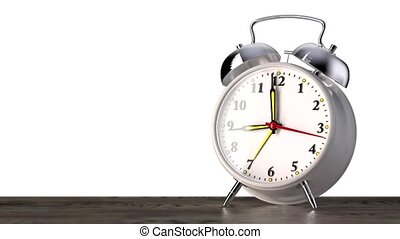 vintage white alarm clock on white background. Time concept.