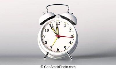 vintage white alarm clock on white background. Time concept....