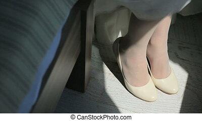 Vintage white bridal shoes close up