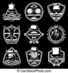 Vintage White Gentleman Labels Set
