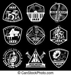 Vintage White Jazz Music Labels Set