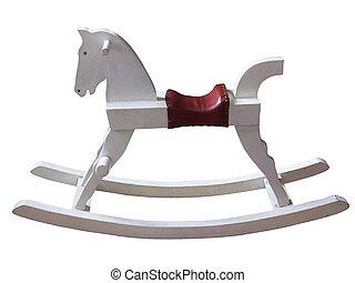 vintage white rocking horse isolated on white