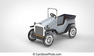 Vintage white toy car with steel wheels