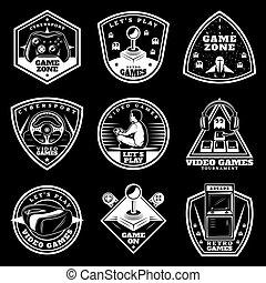Vintage White Video Games Labels Set