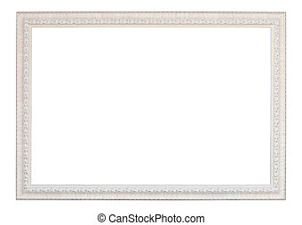 vintage white wood frame on white background (with clipping...