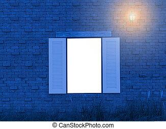 Vintage white wood window on red brick wall