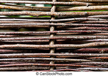 Vintage wicker fence texture