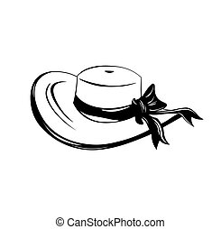 Vintage wide-brimmed woman hat with bow. Vector illustration...