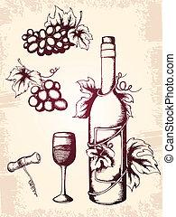 vintage wijn, iconen