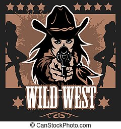 Vintage wild west poster with Crossed colts - vector stock...
