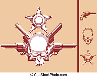 A vector set of a wild west themed vector objects: skull, revolver & sherif badge in vintage style. This vector is very good for design that needs wild west or skull element in vintage style. Available as a Vector in EPS8 format that can be scaled to any size without loss of quality. Good for many ...