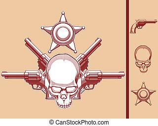 Vintage Wild West Skull, Revolver & - A vector set of a wild...