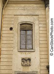 Vintage window on a church in Lviv