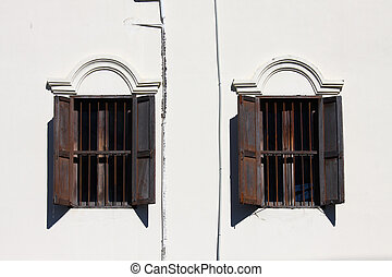 Vintage window. Window of old wood