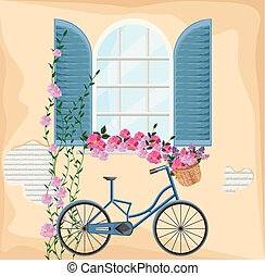 Vintage window with flowers. Bicycle and floral bouquet spring season background Vector