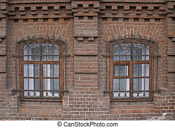 Vintage Windows in a brick house.