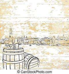 Vintage wine barrel on wooden background