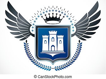 Vintage winged emblem created in vector heraldic design and composed using ancient castle, royal crown and laurel wreath.