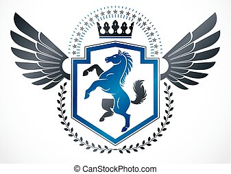 Vintage winged emblem created in vector heraldic design and composed using horse illustration and imperial crown.