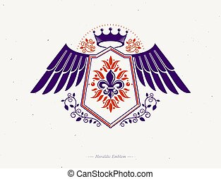 Vintage winged heraldry design template, vector emblem created using lily flower royal symbol and imperial crown