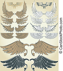 Vintage Wings - Set of vector sketches of wings in two color...