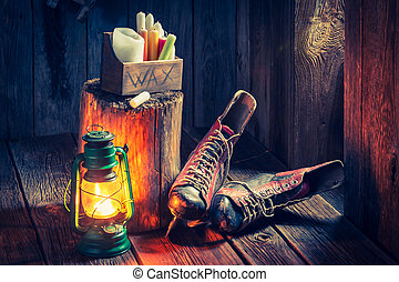 Vintage winter hut with skates and wax