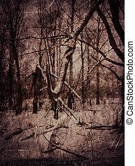 Vintage winter landscape - Grunge old textured background...