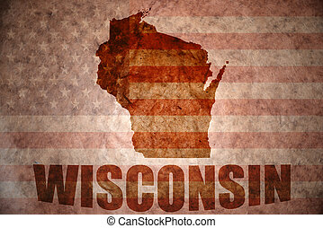 Vintage wisconsin map - wisconsin map on a vintage american...