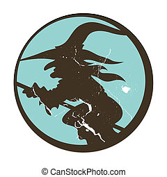 Vintage Witch Silhouette Sticker - Drawing Art of vintage...