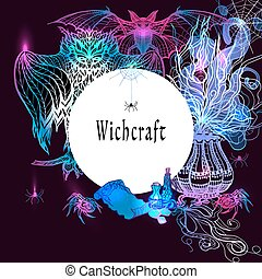Vintage Witchcraft Frame - Vintage witchcraft frame with...