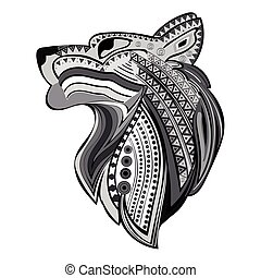Vintage wolf head ethnic black white hand draw pattern.