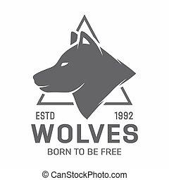 Vintage wolf logo or label