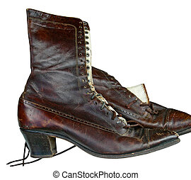 vintage woman boot - brown leather boot isolated