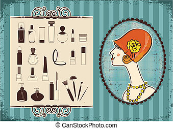 Vintage woman face in fashion hat and cosmetics background