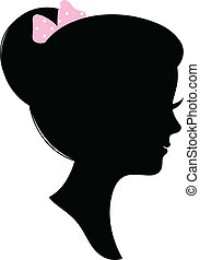 Vintage woman head silhouette isolated on white - Beautiful...