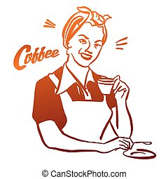 Vintage Woman holding cup of Coffee