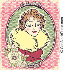 Vintage woman portrait with flowers and romantic frame.Vector il