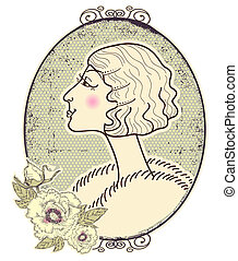 Vintage woman portrait with romantic frame on white background