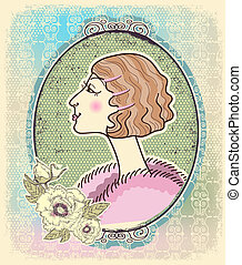 Vintage woman portrait with romantic frame.Vector illustration