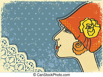 Vintage woman portraits.Retro background on old paper